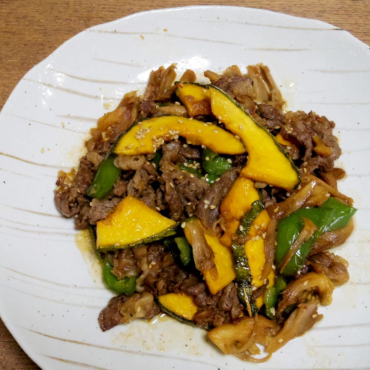 乾燥カボチャと牛肉の甘辛炒め