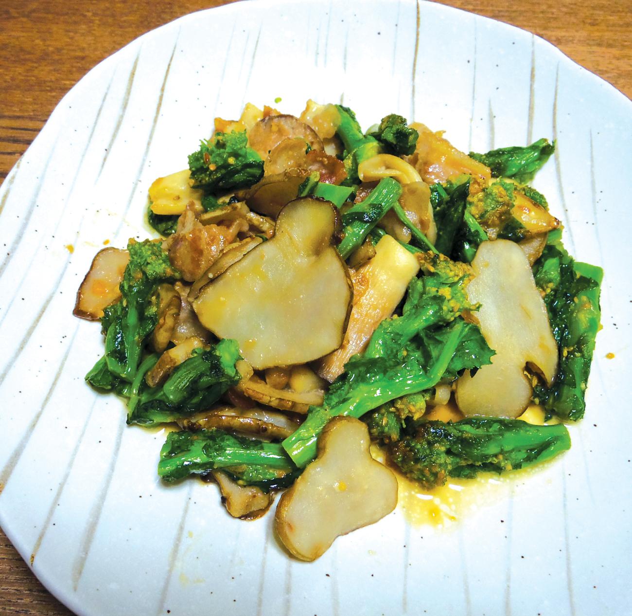 乾燥菊芋と菜の花の味噌マヨ炒め